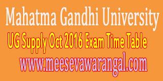 Mahatma Gandhi University UG Supply Oct 2016 Exam Time Table