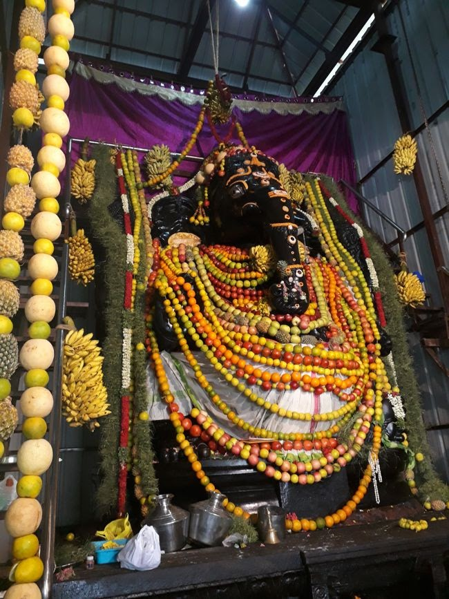 Lord Ganesha Decorated With Fruits