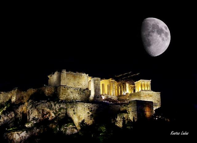 Φεγγαρι στην Ακροπολη ,full moon in Athens,super moon,νυχτερινο τοπιο ,φωτο Κώστας Λαδάς