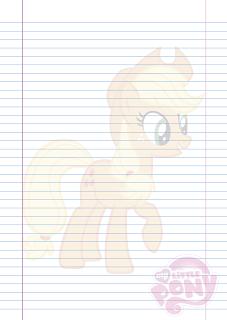Folha Papel Pautado Little Poney da Applejack em PDF para imprimir na folha A4