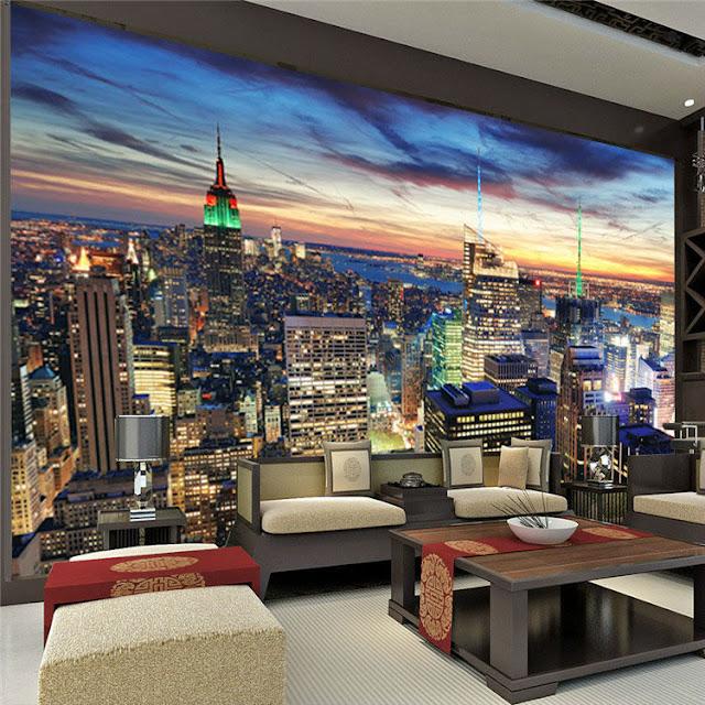New York Wall Mural Manhattan Night