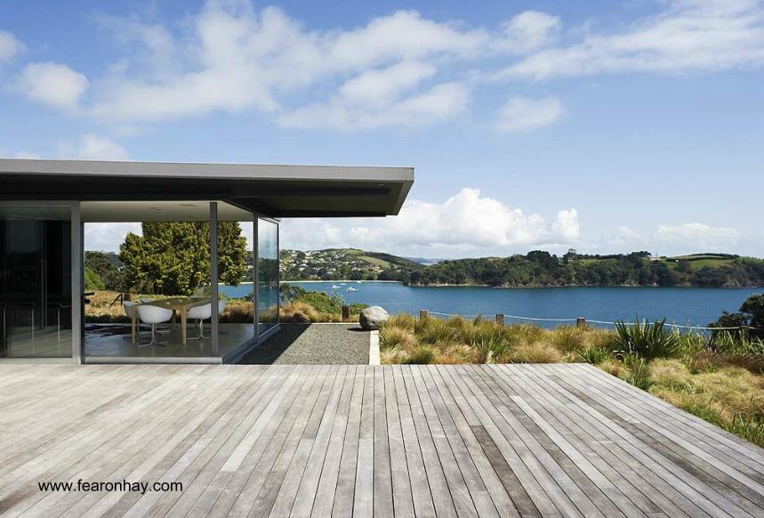 Sector externo de la residencia en Auckland