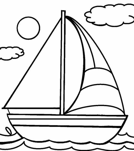 Tranh tô màu thuyền buồm đẹp