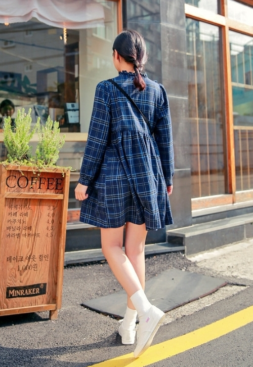 Empire Waist Check Dress