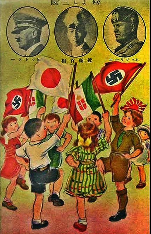 Propaganda japonesa de  apoio às forças do Eixo.