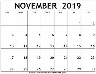 Free Printable Calendar November 2019