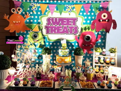 Little Monster themed Dessert buffet and balloon set-up