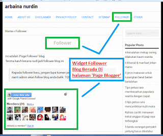 Ringankan loading blog - Ubah kedudukan widget follower