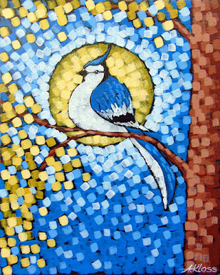 Blue Jay Moon Rays painting by artist aaron kloss, painting of a blue jay, golden maple tree painting, paintings by aaron kloss, sivertson gallery
