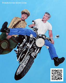 Portrait of George Clooney and Don Knotts riding a motorcycle by Boulder portrait artist Tom Roderick