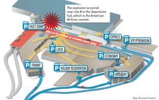 Το σχεδιάγραμμα της βομβιστικής επίθεσης στο αεροδρόμιο των Βρυξελλών