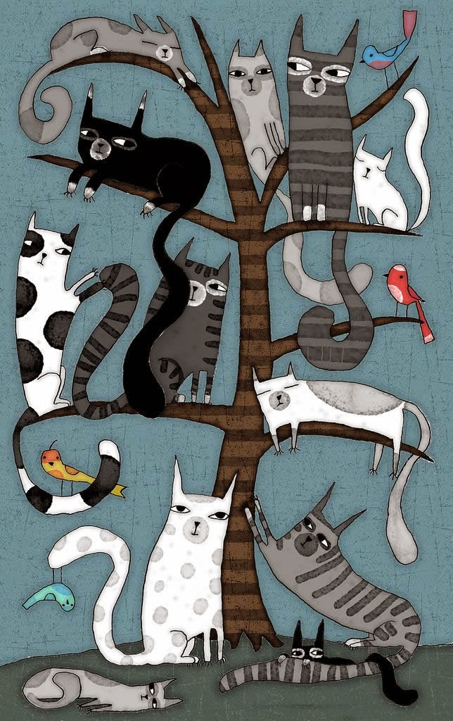 I need to make a quilt inspired by this one. Maybe with the cats patterned after our cats.