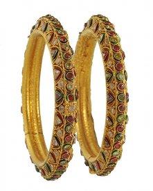 Antique Indian Gold Kada Pair