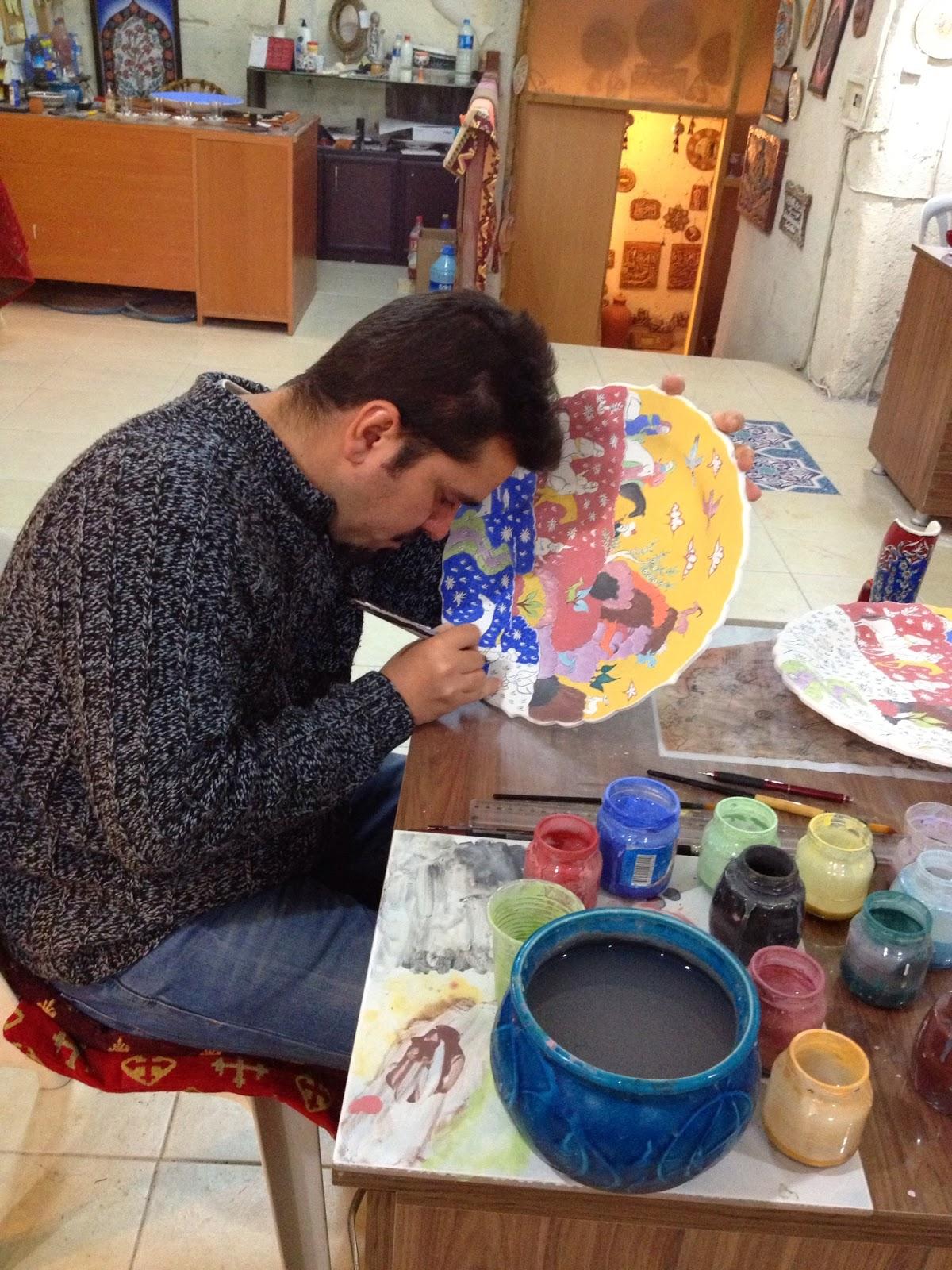Cappadocia - Workers hand-painting platters