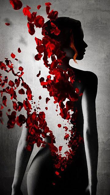 petali, rose, donna, arte