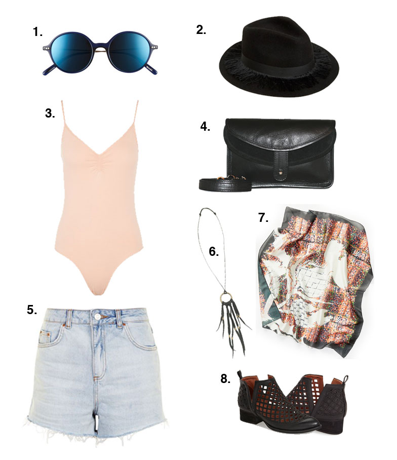 72b719c593d6 1. Oliver people sunglasses 2.ASOS fedora hat 3.Topshop body suit 4. Mei  Vintage fanny pack 5.Longline denim shorts 6. Mei Vintage necklace 7.