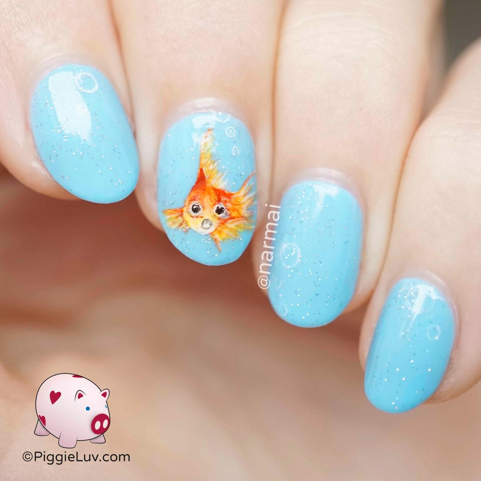Piggieluv Rainbow Bubbles Nail Art: PiggieLuv: Goldfish Nail Art