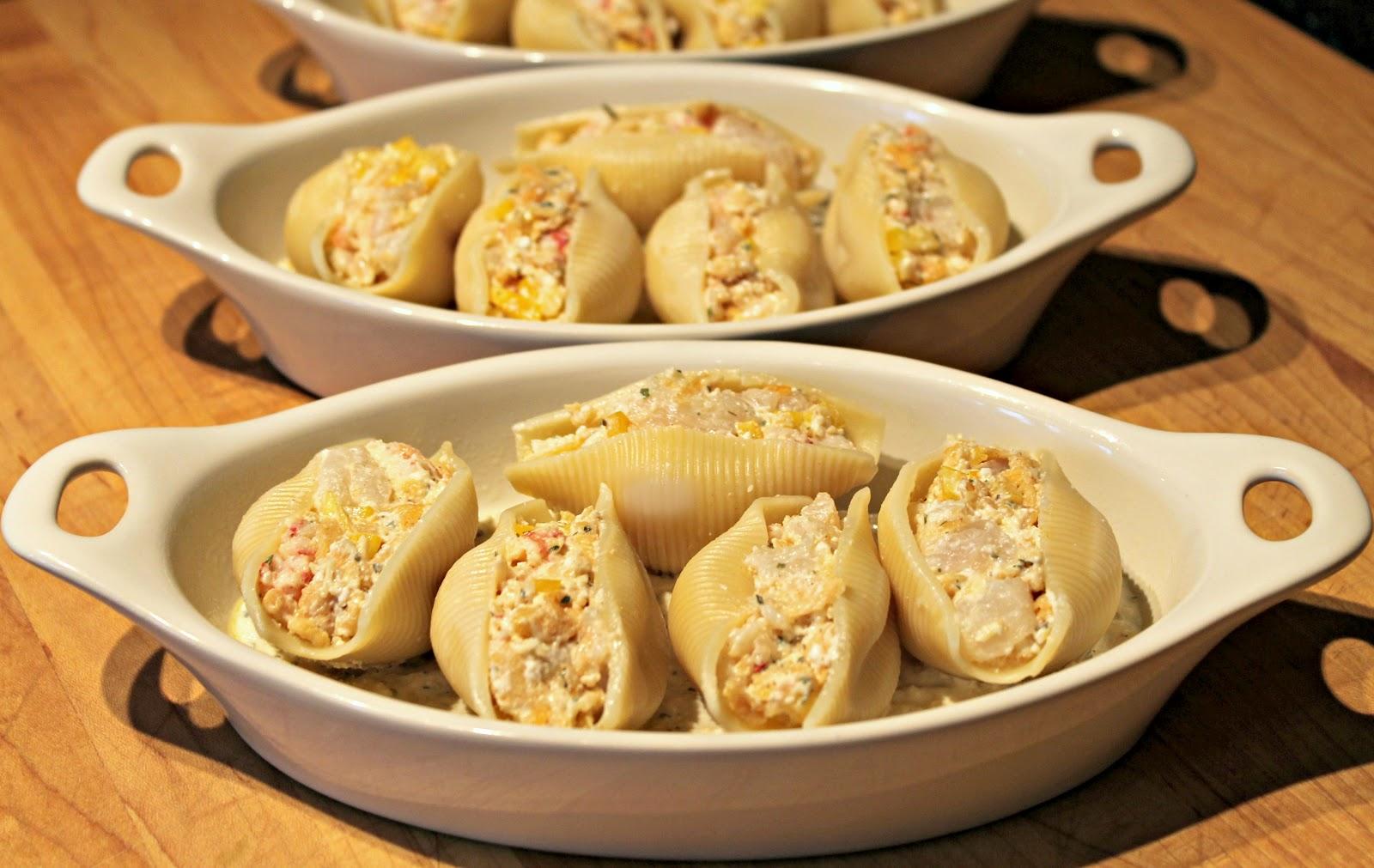 Stuffed seafood pasta shells recipe