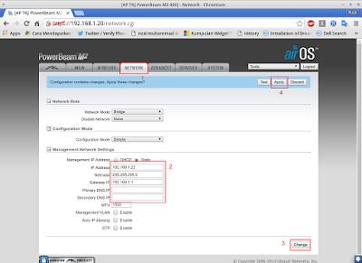 Jika sudah pindah ke tab network, rubah ip untuk ubnt, lalu change dan apply