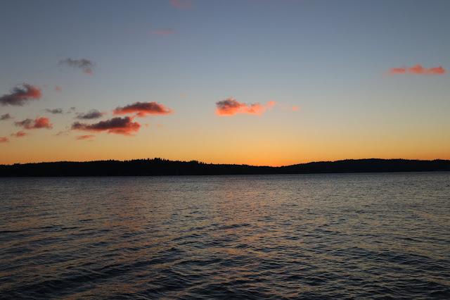 A sunset with many orange tones.