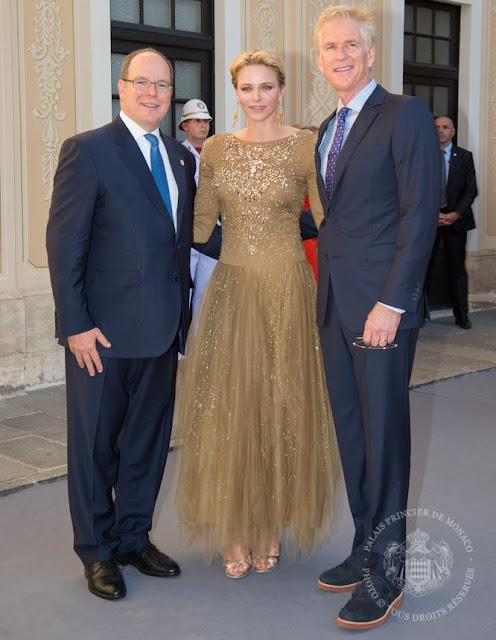 Prince Albert and Princess Charlene of Monaco held a reception for actors at the Prince's Palace
