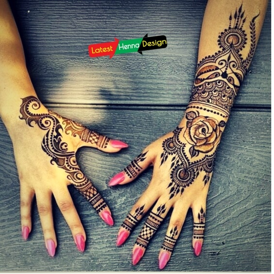 Dark henna design with glitter is in fashion and trends-latesthennadesigns