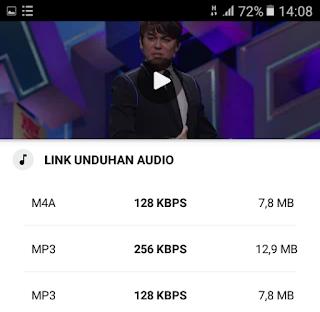 Pilih format file lagu MP3 - Videoder Android APK