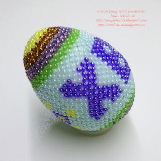 """Пасхальное яйцо, оплетённое бисером """"в крестик"""""""