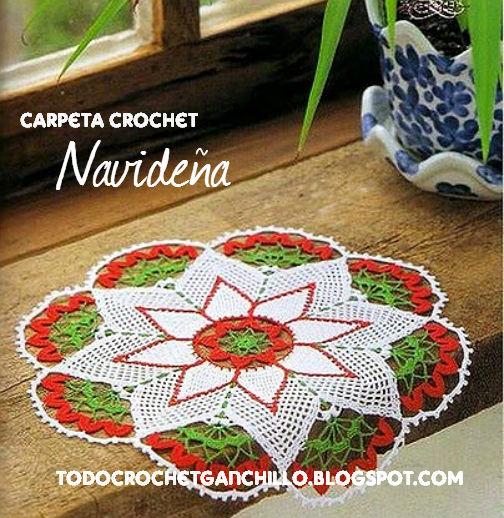 Carpeta tejida al crochet con motivo de navidad