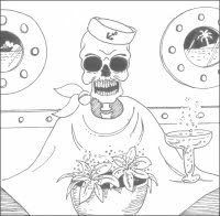 illustration furtures for story lovers murder mystery mayhem tropical cruise boat skull skeletton artist Jillian Crider dining eating, drinking champagne