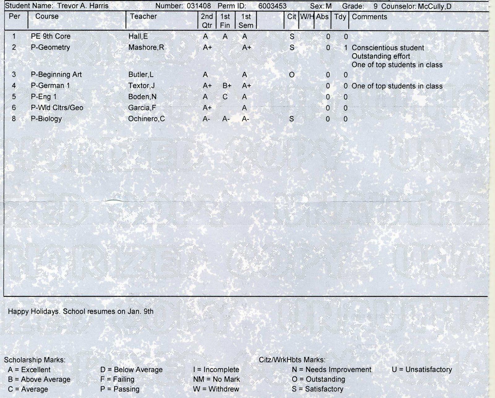 High school report card bsd 8