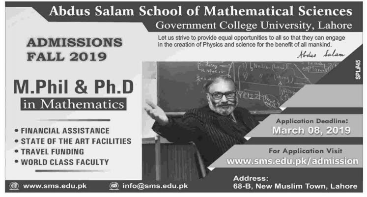 M  Phil and PhD Mathematics GCU Lahore Admissions Fall 2019