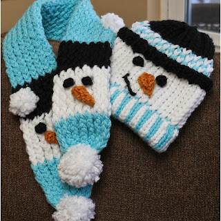 Loom Knit snowman scarf and hat pattern free