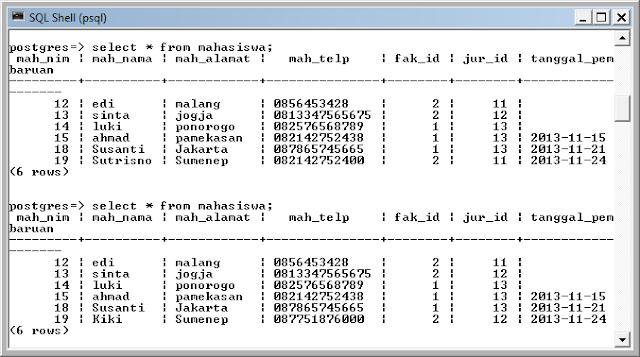 Kelas Informatika - SQL Shell PostgreSQL Update Data Mahasiswa