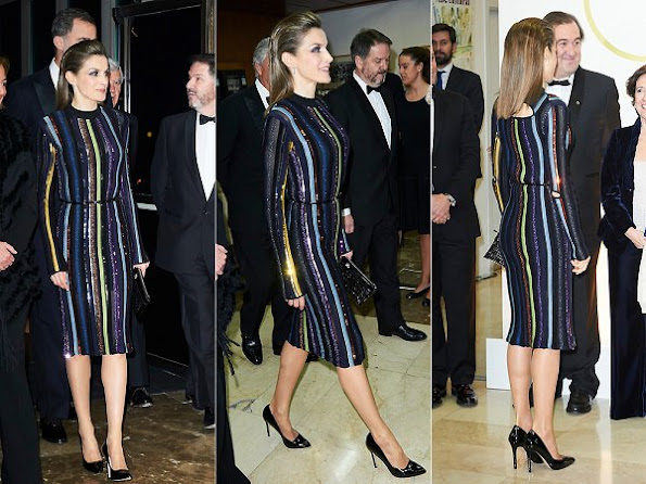 Queen Letizia wore Nina Ricci Multicolor stripes knit with sequins long sleeves dress
