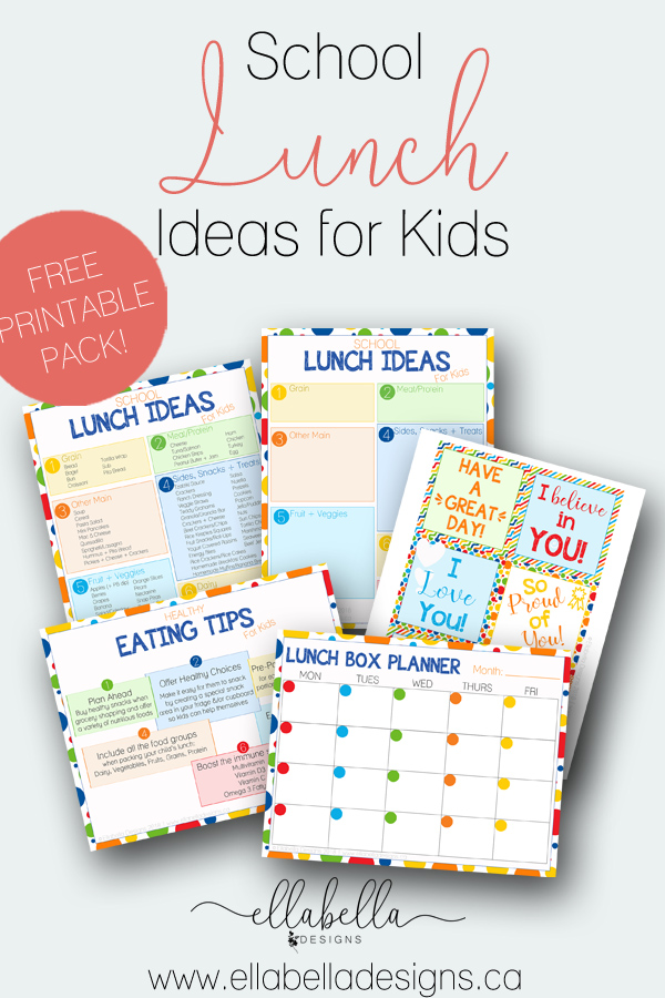 School Lunch Ideas for Kids free printables by Ellabella Designs