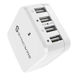 Caricabatteria da viaggio USB Syncwire con adattatore UK UE USA