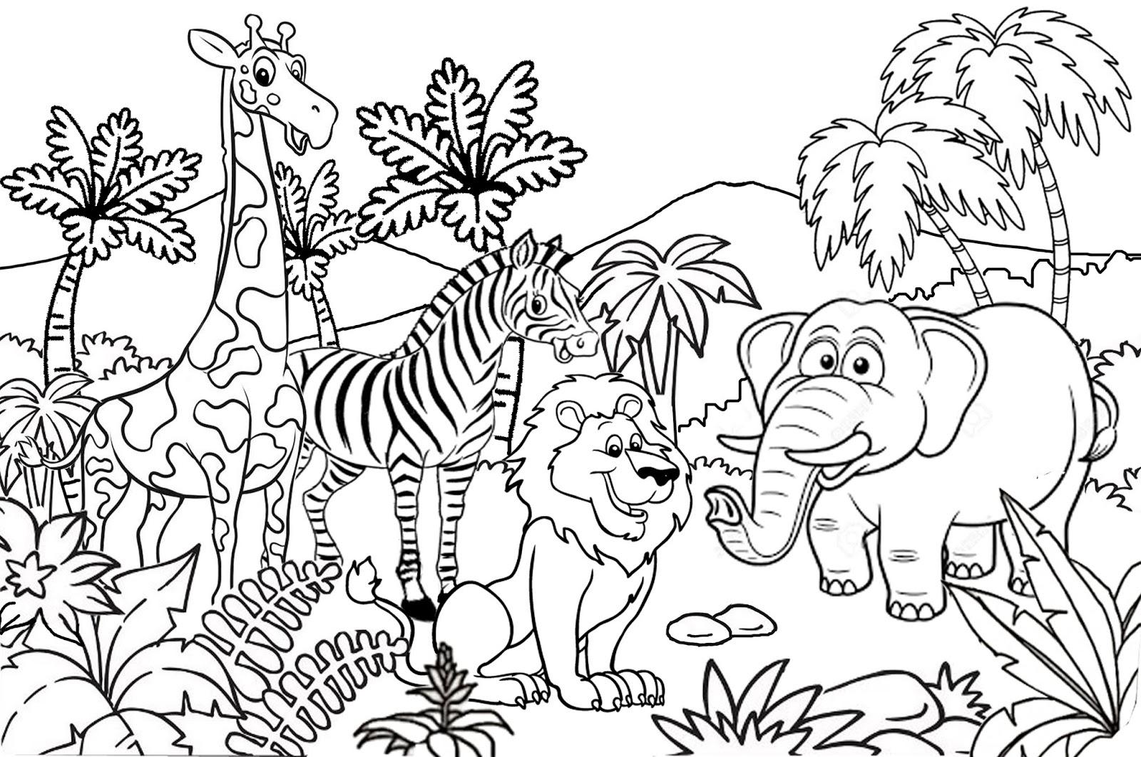 Catatanku Anak Desa Gambar Mewarnai Tema Kebun Binatang