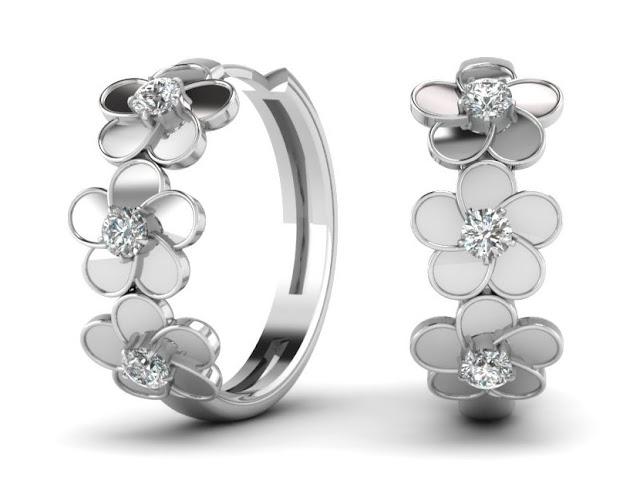 Diamond Blossom Silver Hoops
