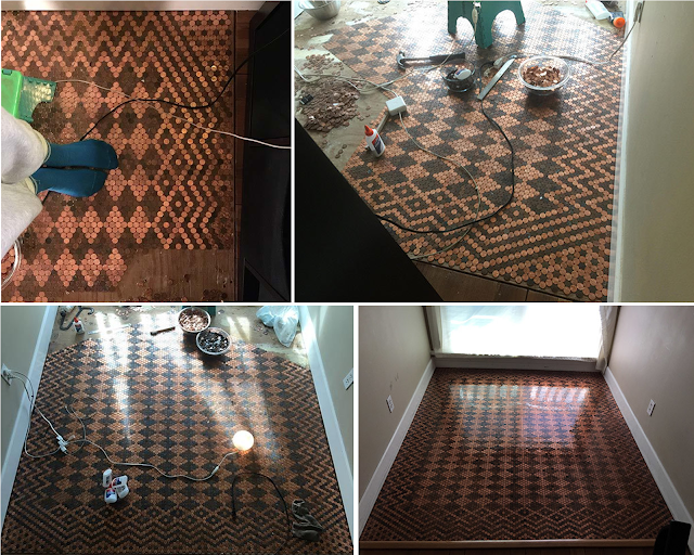 She Glued 15,000 Pennies On The Floor. The Result Is Absolutely Breath-Taking!