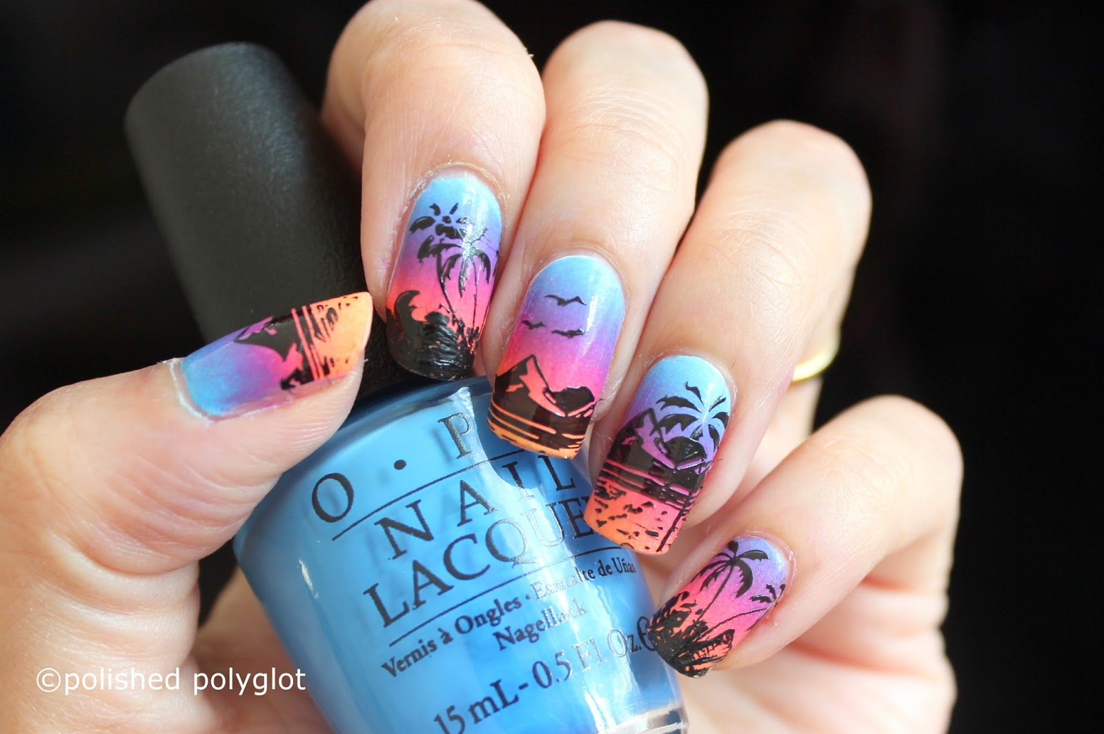 Nail art sunrise on the beach inspired nail design 26gnai art design this time the 26 great nail art ideas challenge is about beach or animal silhouettes so i thought to do a sunrise on the beach inspired prinsesfo Gallery