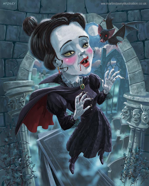 Martin Davey artist vampire lady with bat