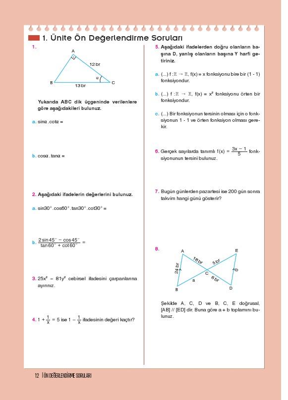 11. Sınıf Matematik Ders Kitabı Cevapları Top Yayınları Sayfa 12