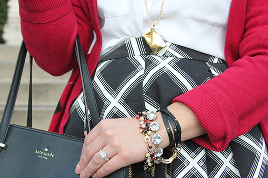 Kate Spade Envelope Necklace | Red and Black Arm Party Details