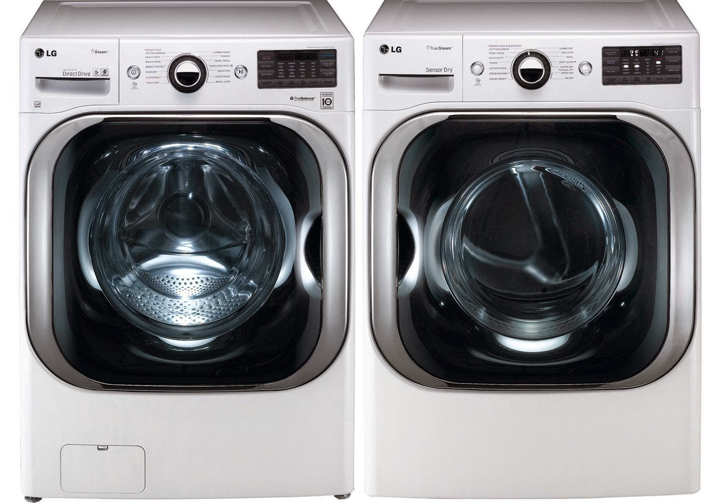 lg white 51 cf front load steam washer and 90 cf steam electric dryer sets