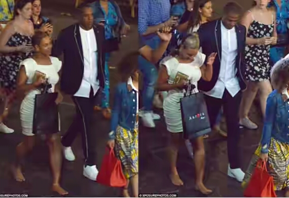 Beyonce and Jay Z walks barefoot to dinner in Italy