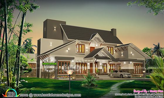 Unique sloping roof luxury Kerala home design
