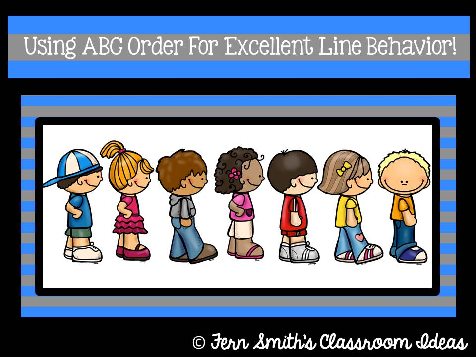 Fern Smith's Bright Ideas Blog Hop: Using ABC Order For Excellent Line Behavior!