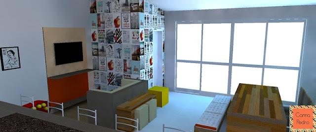 Projeto em 3D do ambiente com lambe lambes nas paredes feito por Carina Pedro