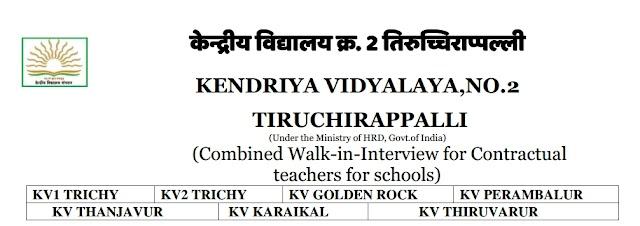 KV Teachers Recruitment 2019 - Notification Published ( Interview Date : 22,23,25.02.2019)